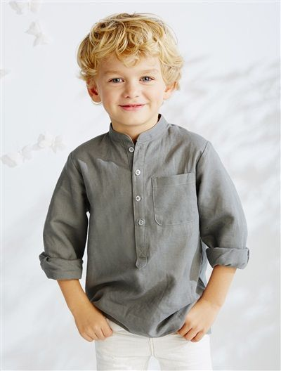 Boys Linen Sky Blue Shirts Kids Summer Shirts Roll Up Long Sleeve Boy Shirt