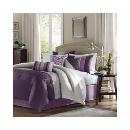 Home Essence Salem 7 Piece Comforter Set King Purple Walmart Com Comforter Sets Bed Comforter Sets Duvet Sets