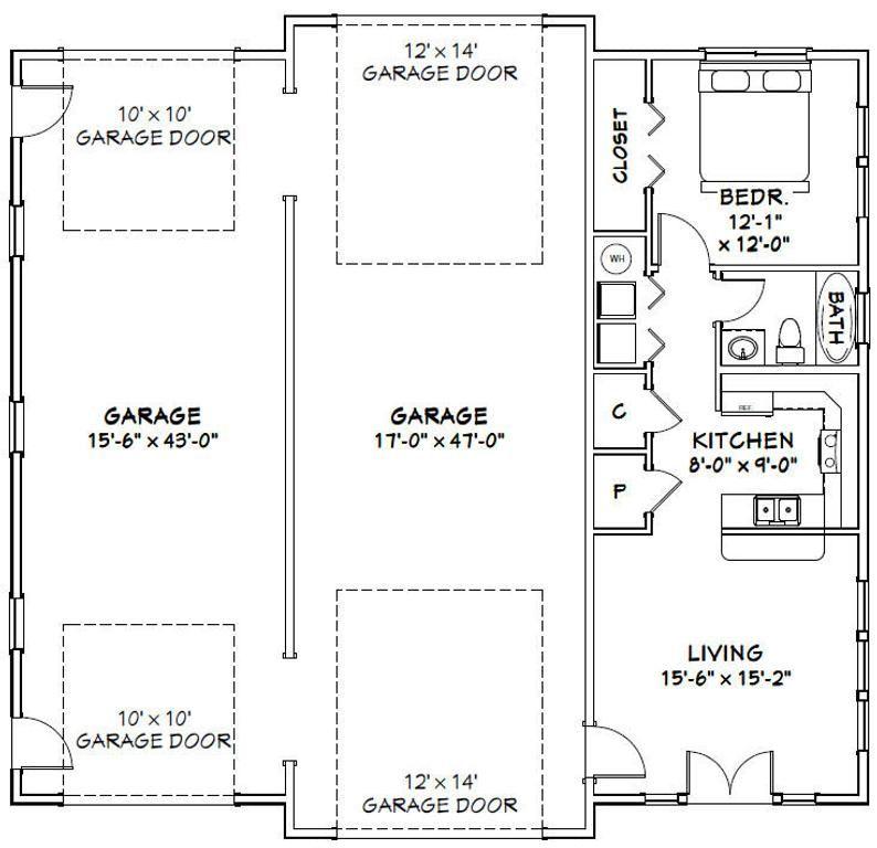 50x48 Garage 1 Br 1 Ba Pdf Floor Plan 2 274 Sq Ft Instant Download Model 4a In 2021 Garage Floor Plans Floor Plans Garage House Plans