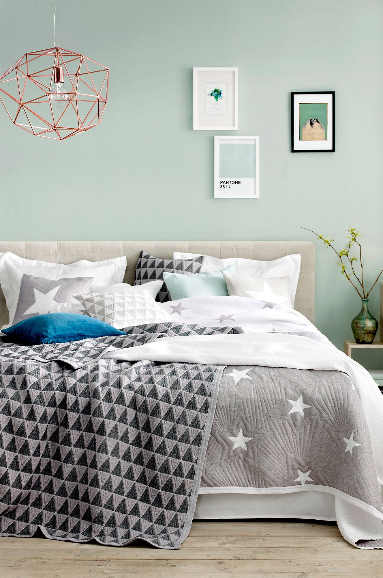 mint, watery blue/green walls, grey accents, comfy bed,i like the