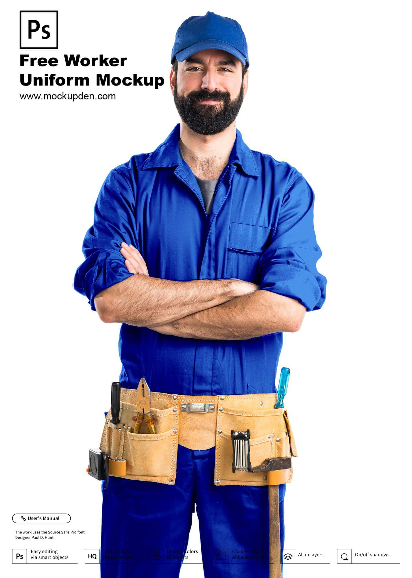 Free Worker Uniform Mockup Psd Template Clothing Mockup Mockup Mockup Psd