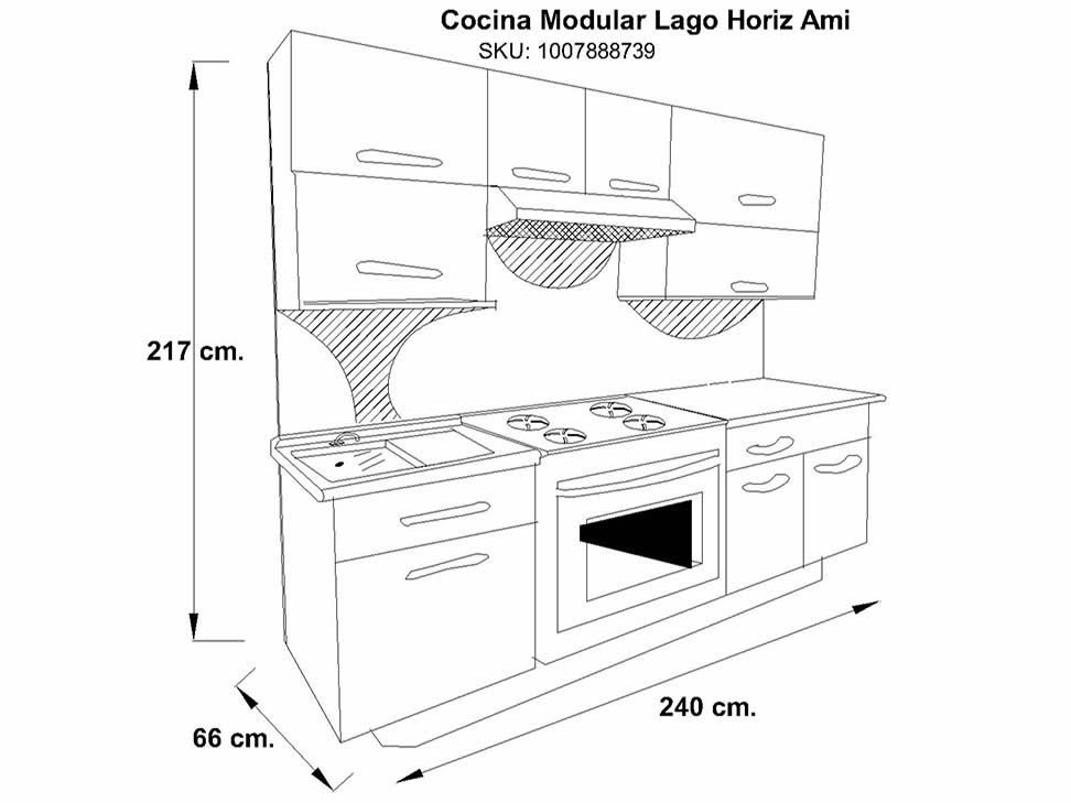 Cocina modular horizontal trendy wengue lago liverpool es for Medidas cocina integral
