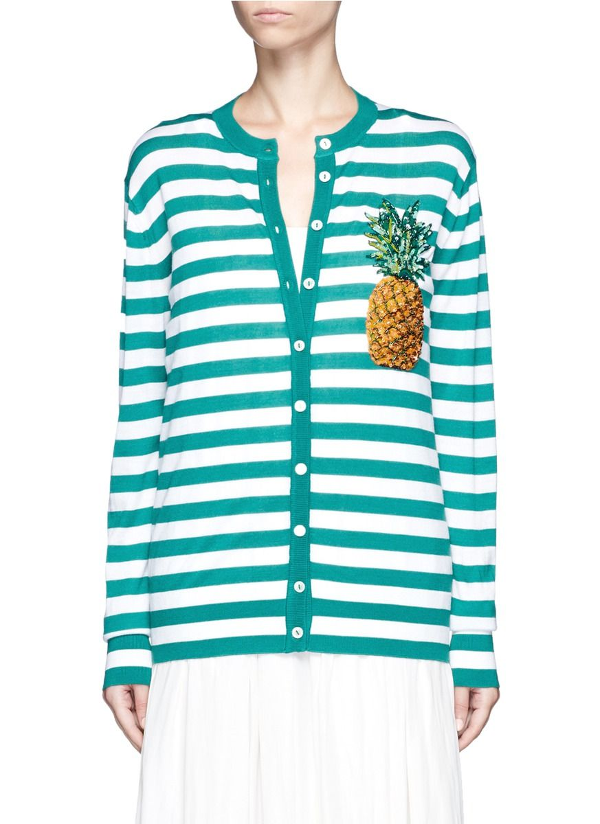 558519eba639 DOLCE   GABBANA Pineapple Embellished Stripe Knit Cardigan ...