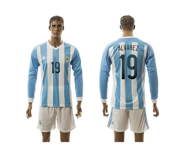 2015 AAA+ Argentina 19 ALVAREZ Home Soccer Jersey