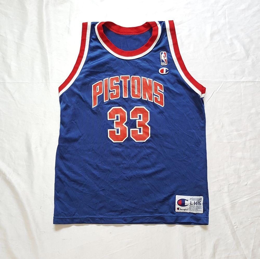 f126d0ce6405 Vtg Detroit Pistons  33 Grant Hill NBA Basketball Blue Champion Jersey L  Youth http