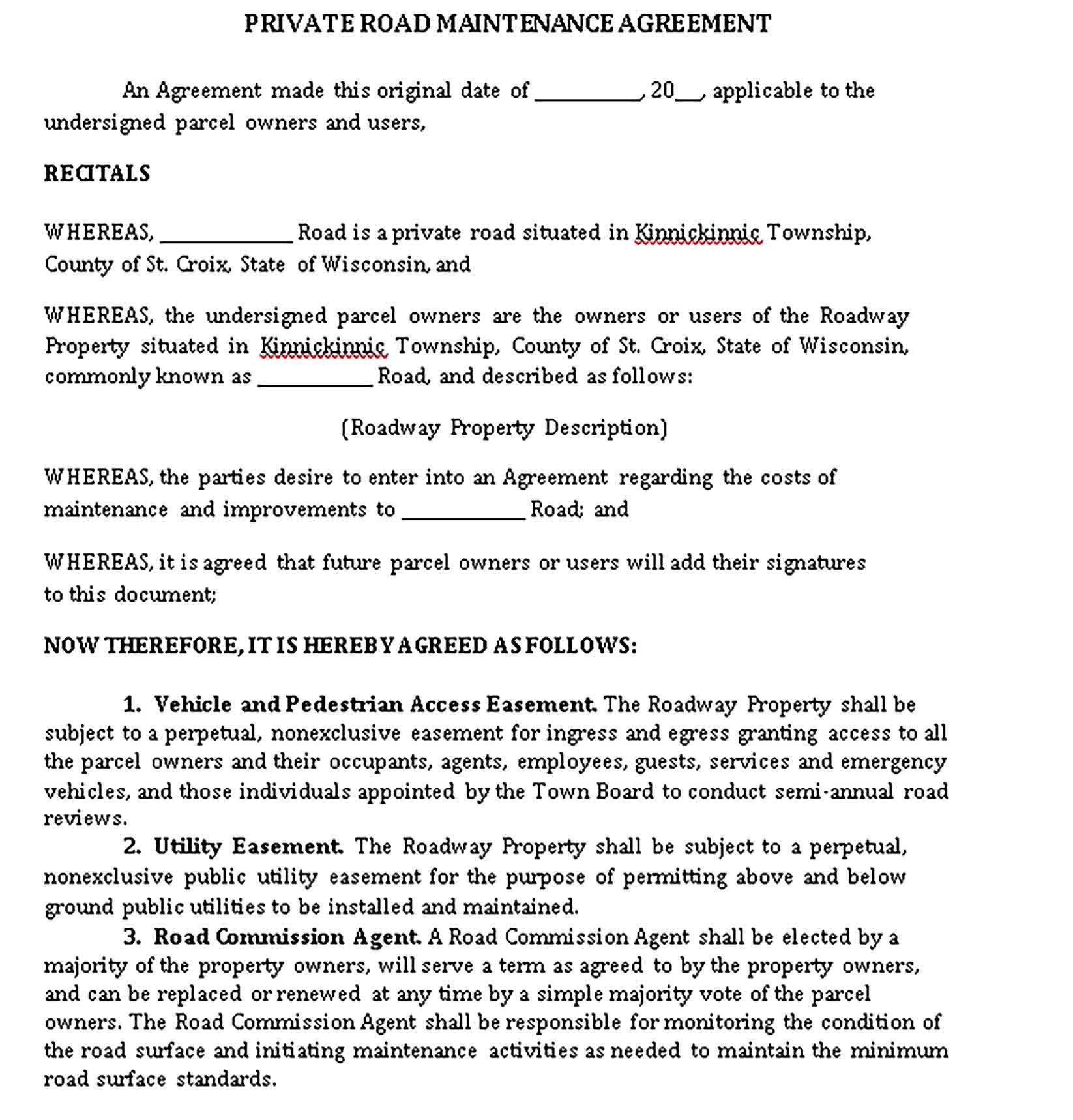 Maintenance Agreement Templates Sample Maintenance Agreement Contract Template Private road maintenance agreement template