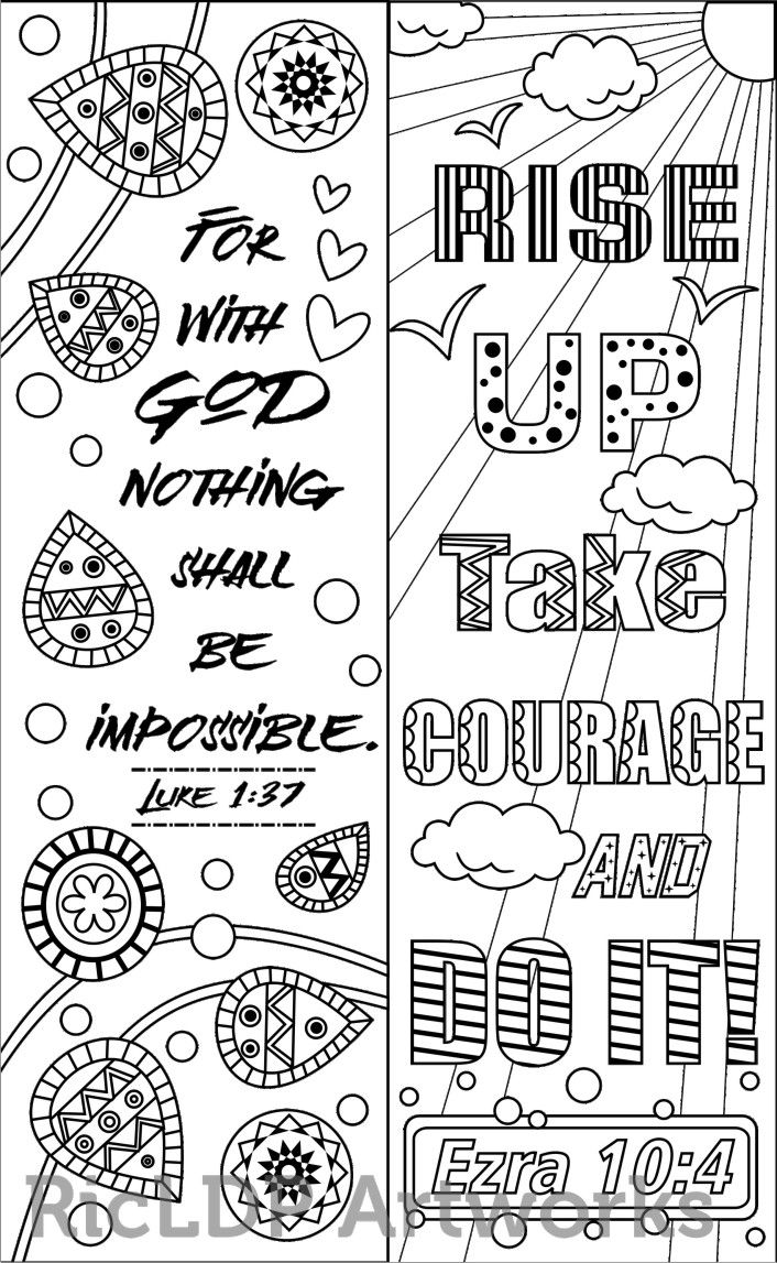 Bookmarks to color adults - 8 Bible Verse Coloring Bookmarks