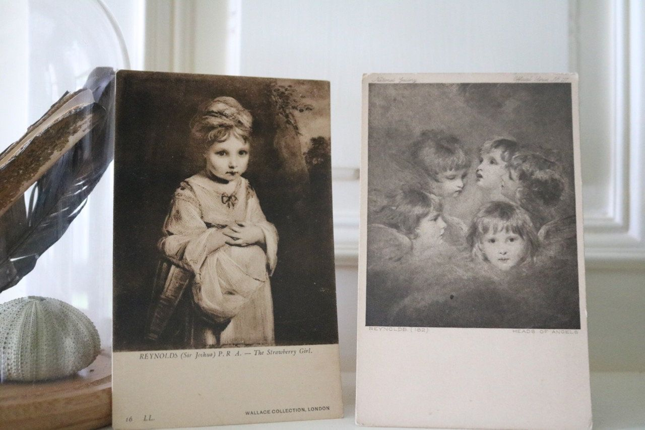 Two beautiful French Vintage Collectable Postcard of a young ...