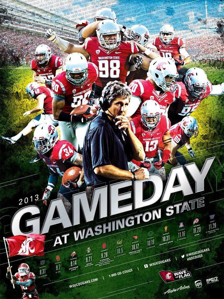 Wsu Athletics Posters Sports Graphic Design Football Design