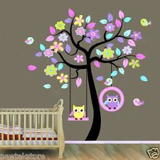 Owls Tree Flowers Pink Blue Purple Removable Wall Stickers Animal Kids Nursery