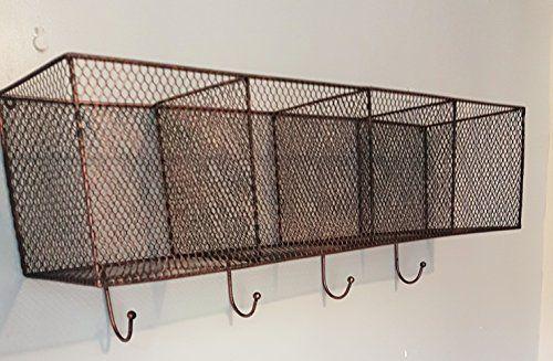 Cestino In Metallo Stile Industriale Vintage Scaffale Con