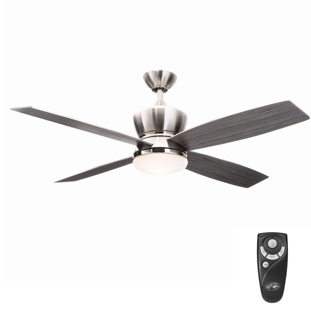 Hampton Bay 42nd Street 52 In Indoor Brushed Nickel Polished Nickel Ceiling Fan With Light Kit And Remote Control 14960 Ceiling Fan Ceiling Fan With Remote Polished Nickel