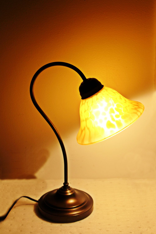 Vintage gooseneck desk lamp with art glass shade electric light home vintage gooseneck desk lamp with art glass shade electric light home decor gold lamp shade by aloadofball Images