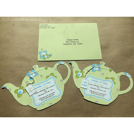 Tea party teapot light green background with blue and green flowers printable tea party invitation bridal tea by doityourselfinvites filmwisefo Gallery