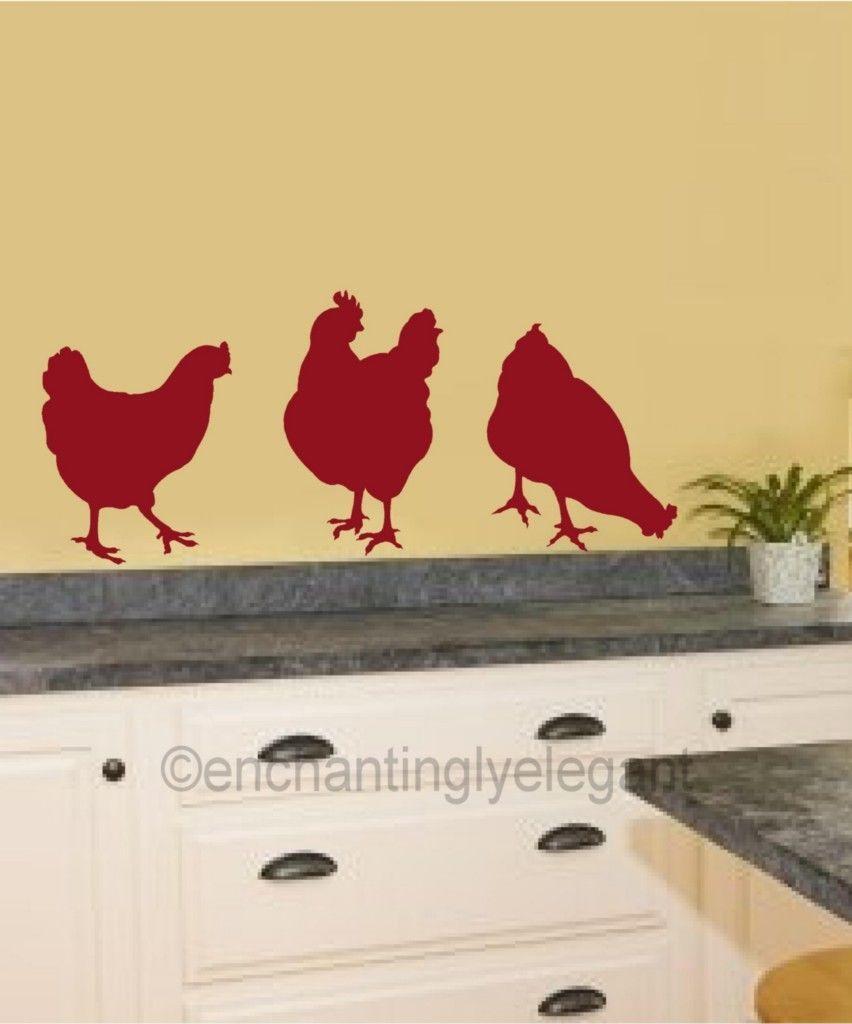 Chicken Hens Vinyl Decal Wall Stickers Garden Farm Theme Kitchen ...