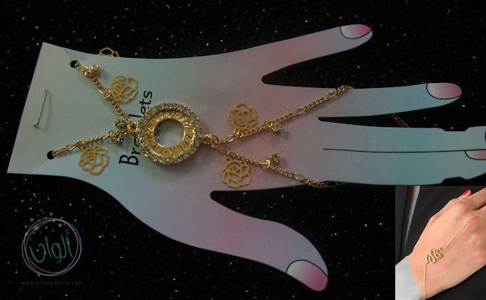 اسوارة خاتم الكف على شكل دائرة بفصوص كريستال وورود شانيل تشبك باصبع اليد والمعصم بسيطة وتضفي على مظهرك ستايل جذاب ومميز Ring Bracelet Pearl Necklace Jewelry