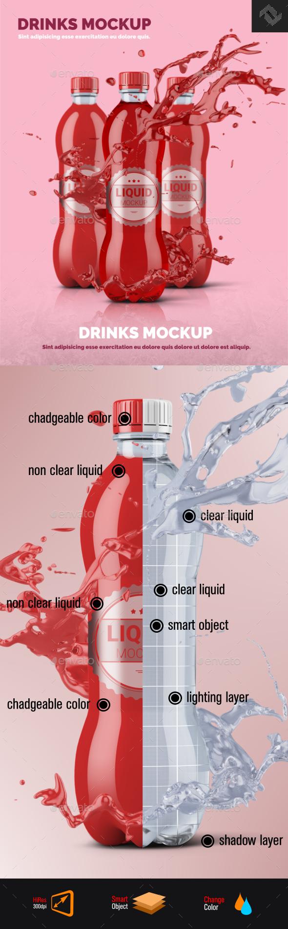 Clear Plastic Bottle Mockup Shape 5