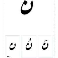 خط رقعة بطاقات الحرف نون مع التشكيل خط رقعة Design Calligraphy