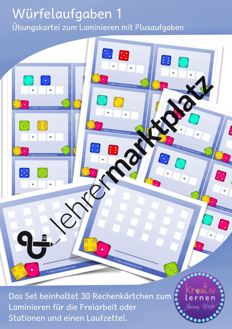Würfelaufgaben: Kleine Kartei für den Anfangsunterricht in ...