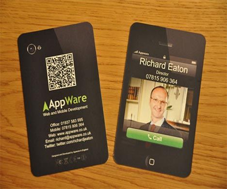 Business card made to look like an iPhone with a QR code on the ...