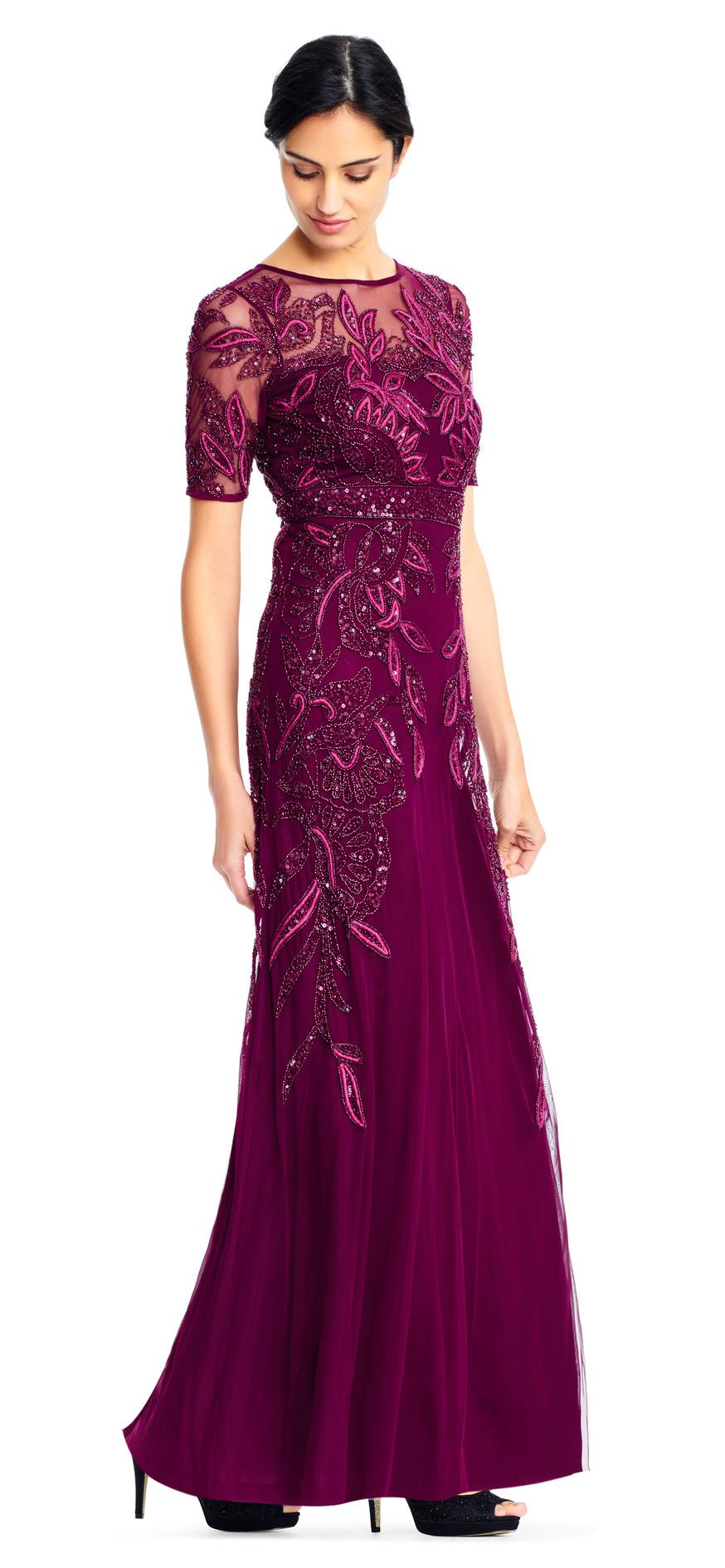 Vine beaded gown with illusion short sleeve illusions short