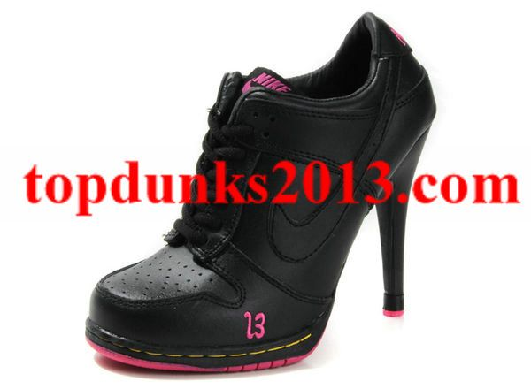 Outstanding Black Pink High Cut Nike Dunk Women High Heel