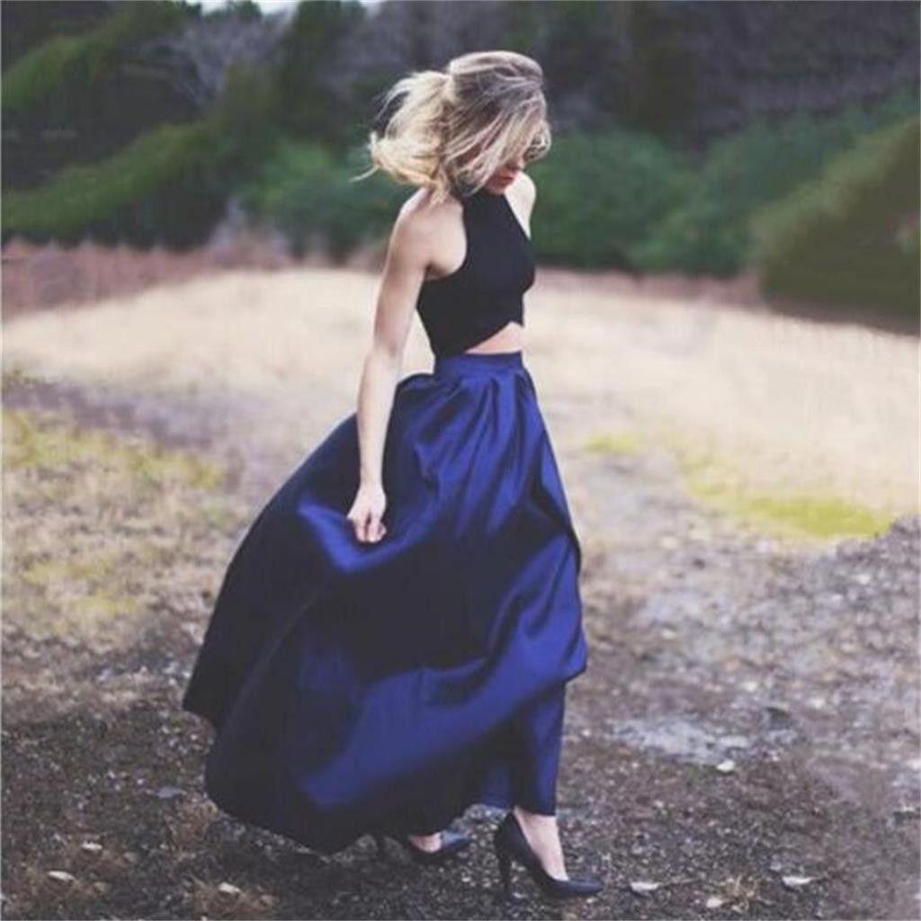 pieces royal blue unique new design evening long prom dresses