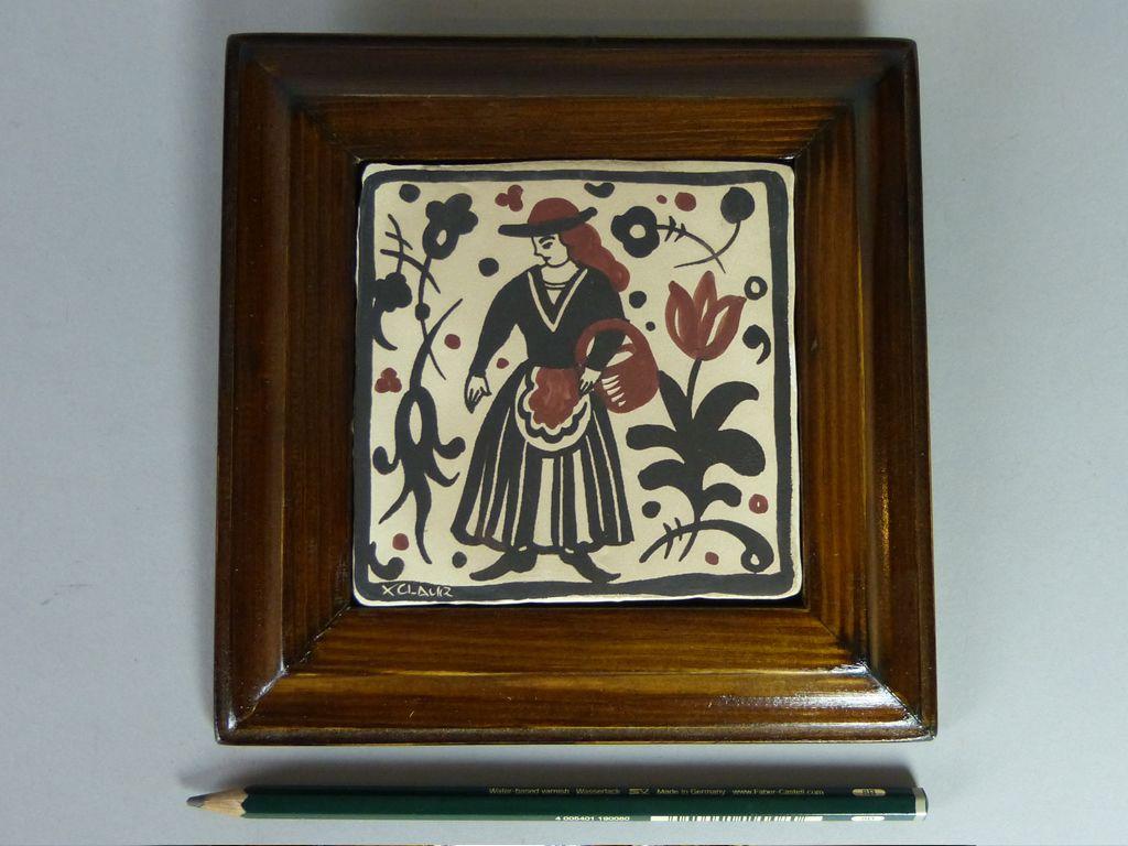 Socarrat Dama con Cesta Socarrat de 10 x 10 cm pintado a mano con ...