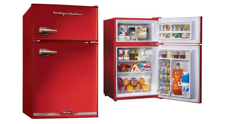 round mini fridge