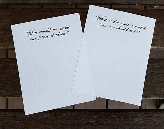 https://www.dropbox.com/sh/zmagjk44foxdau1/AACJznuwc3NYNuvmQ0bqTAEFa?dl=0 These Formal DIY Printable Question Cards are a PERFECT conversation starter for your wedding reception or bridal shower. Included in this DIGITAL DOWNLOAD are 2 .pdf files: Each include 4 pages with 4 questions per page for easy printing. One file includes a With Love, footer on each card. One file has the questions only on each card. Print as many copies of each page as you need! This listing is for an Instant…