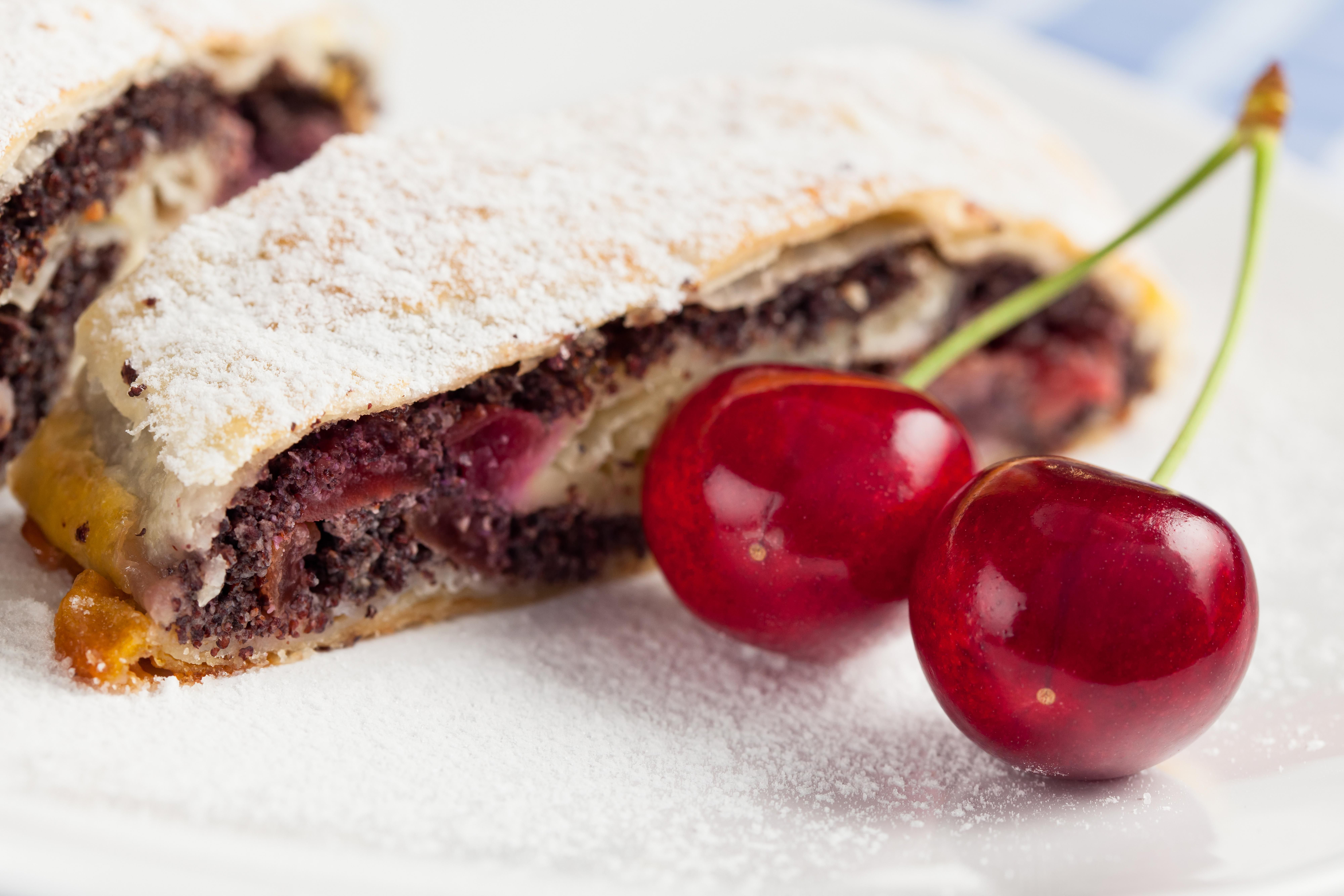 """Slovak cuisine - sweet pastry with various fillings """"štrúdľa"""" - this filling is a mixture of poppy seeds & wild cherry"""