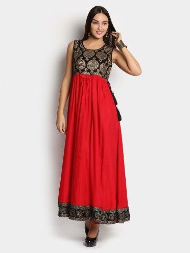 c66e6372c16 Buy AkkritiByPantaloons Women Akkriti by Pantaloons Women Red   Black Maxi Dress  online India