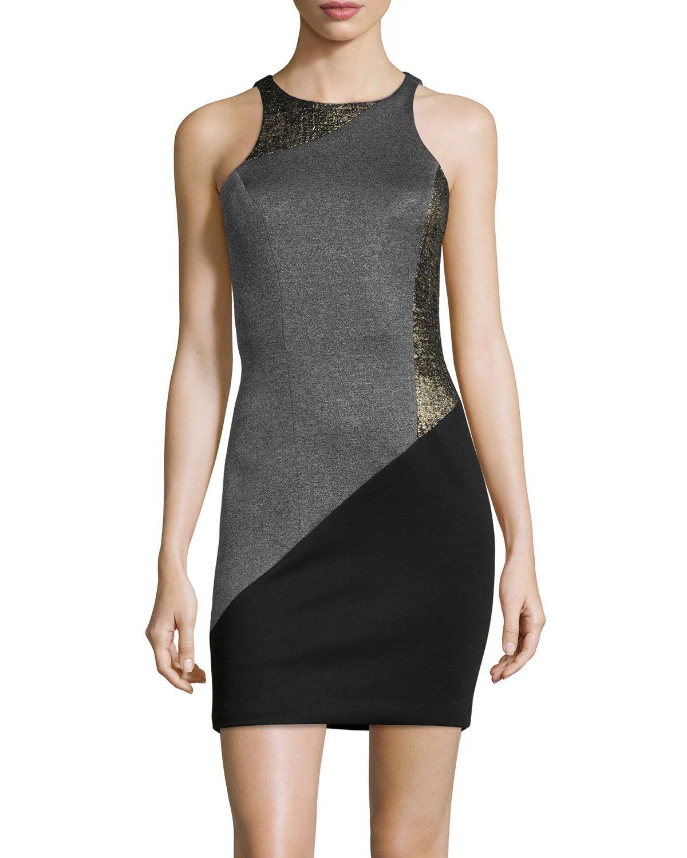 Jay Godfrey Sleeveless Neoprene Patchwork Dress, Charcoal/Multi ...
