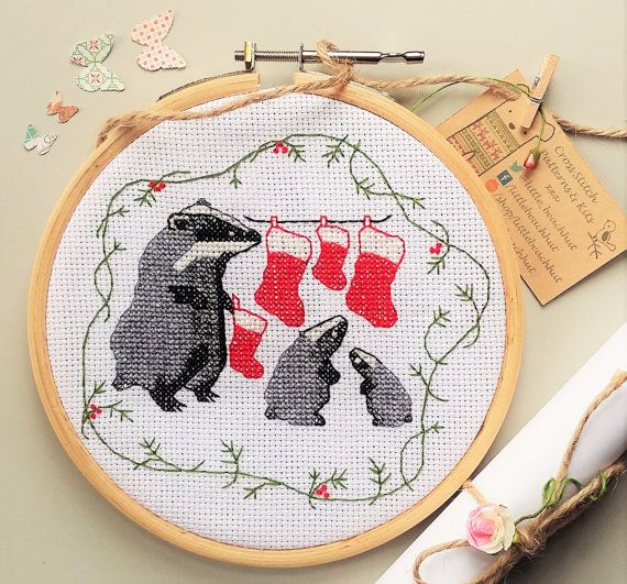 Black & White Christmas Badgers Cross Stitch Kit by LittleBeachHut