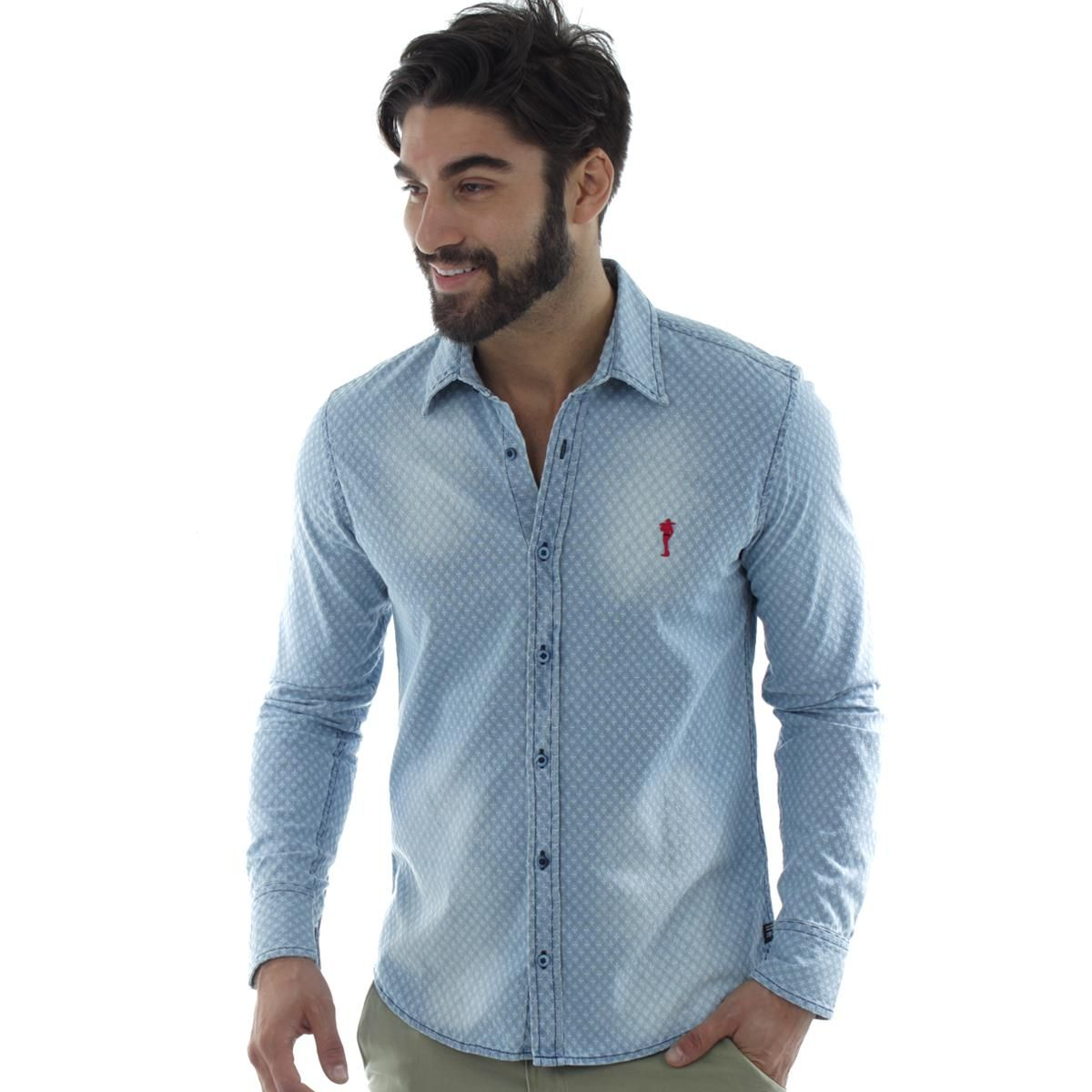Camisa Masculina Jeans Zip-Off 35031  2c34f81db03
