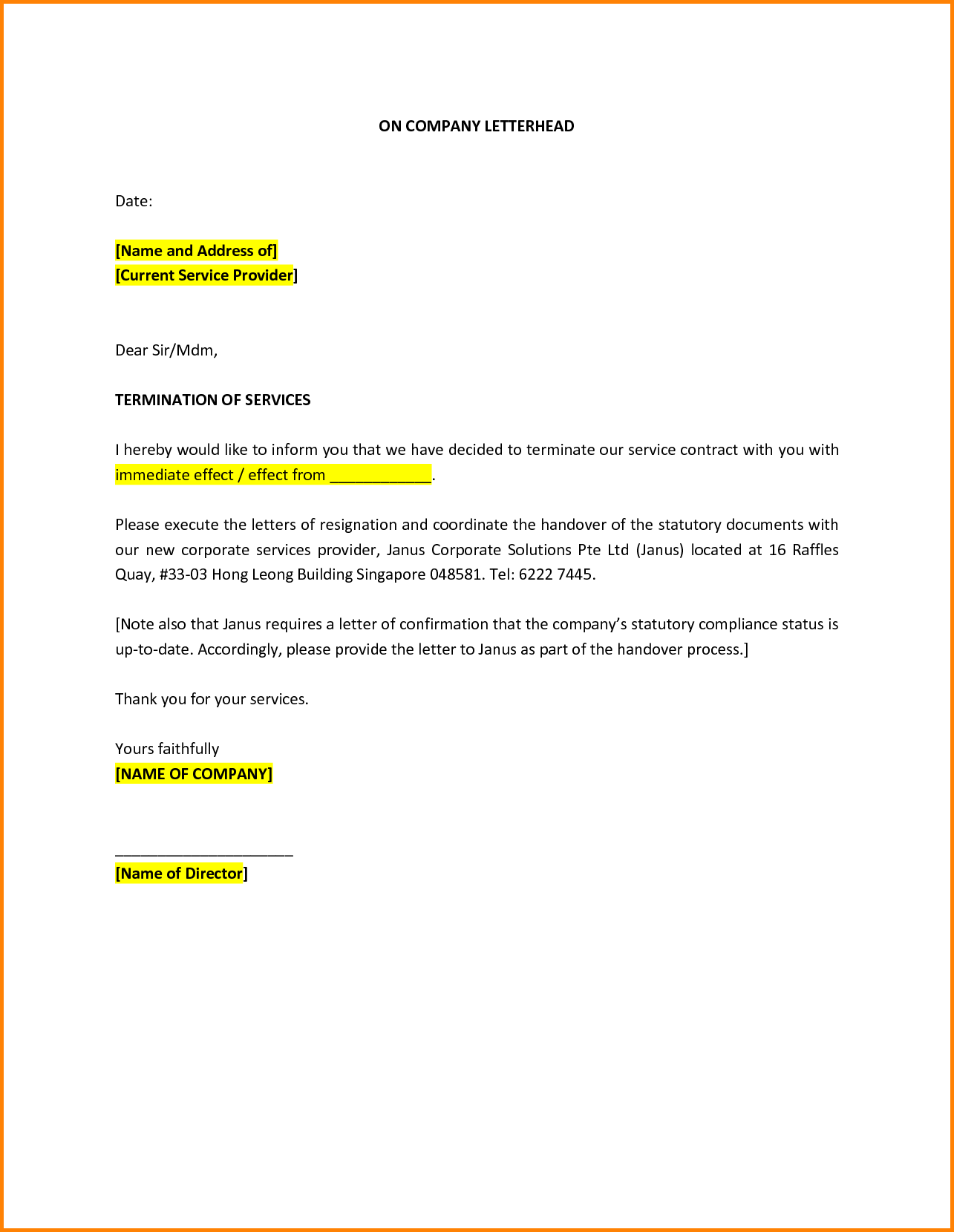 Cancellation Letter Mom Termination Company Employee Job Essay