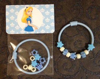 8 -  Alice in Wonderland Birthday or Slumber Party Favor 6 inch DIY Bracelet Kits - Set of 8