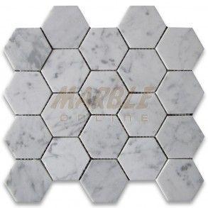 Carrara White 3 Inch Hexagon Mosaic Tile Honed