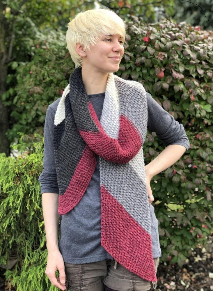 Diagonal Scarf In Plymouth Yarn Free Knitting Pattern For Beginners