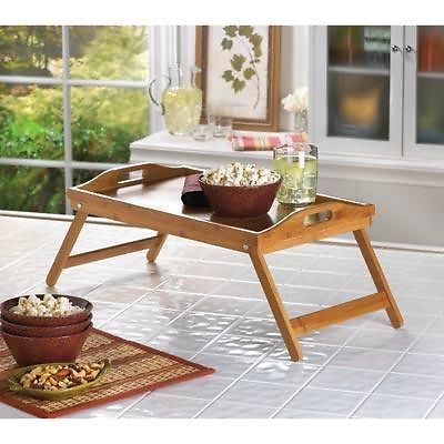 Bamboo Wood Folding Serving Tray With Handles Kitchen Home In Bed Breakfast Kids Homelocomotion