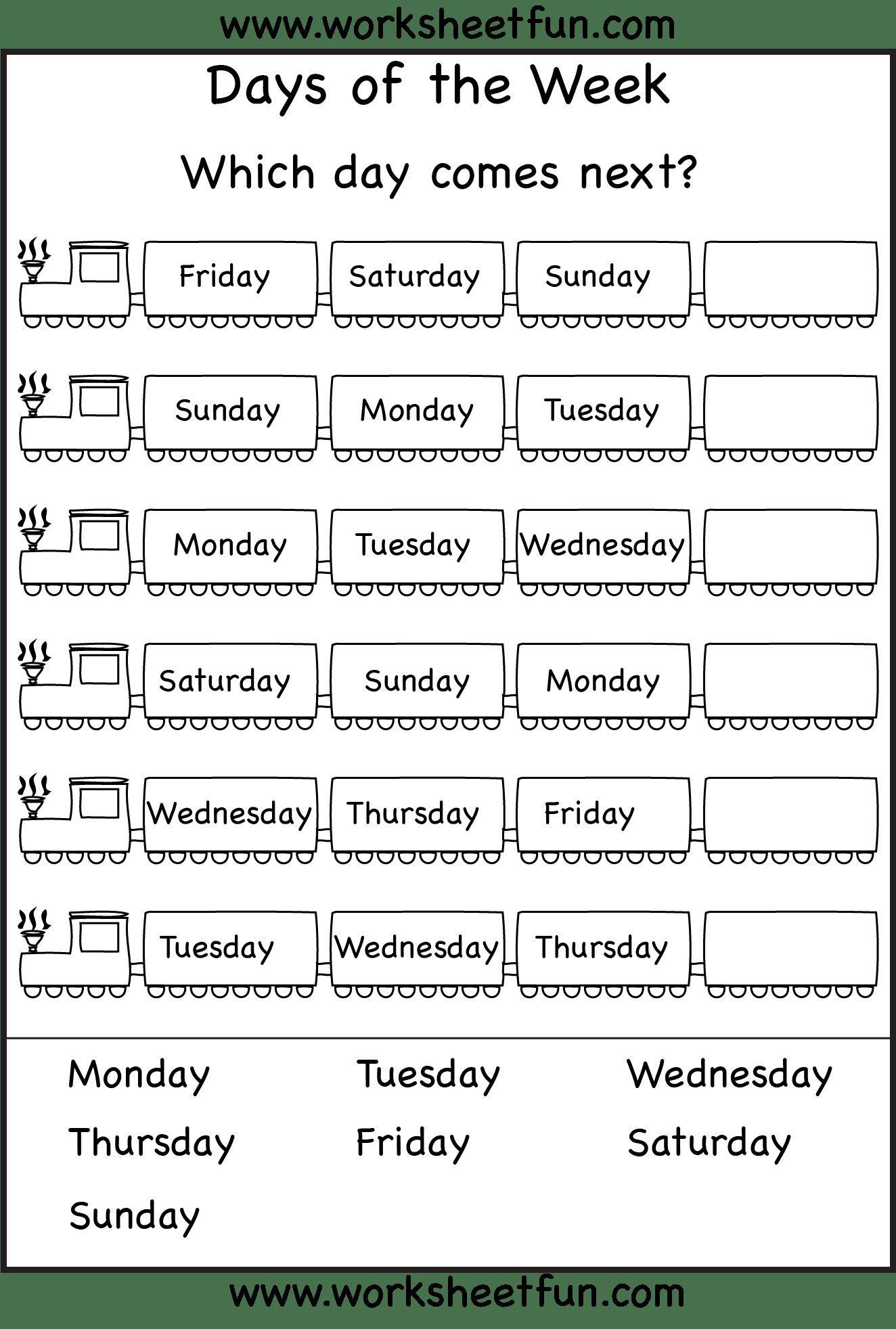 2 Calendar Print Out Worksheets For Kindergarten Days Of The Week