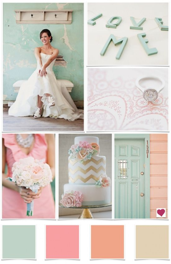 Mint and pink pastels come to life with a pop of gold! | Gold ...