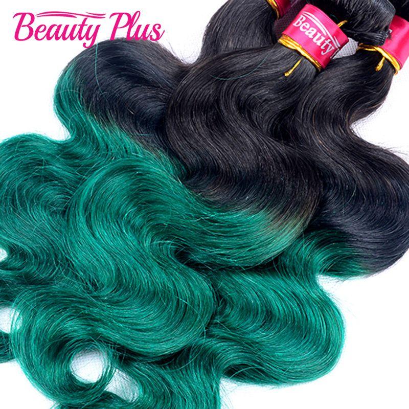 7a Ombre Brazilian Hair Weave Bundles 1bgreen 4 Bundles Brazilian