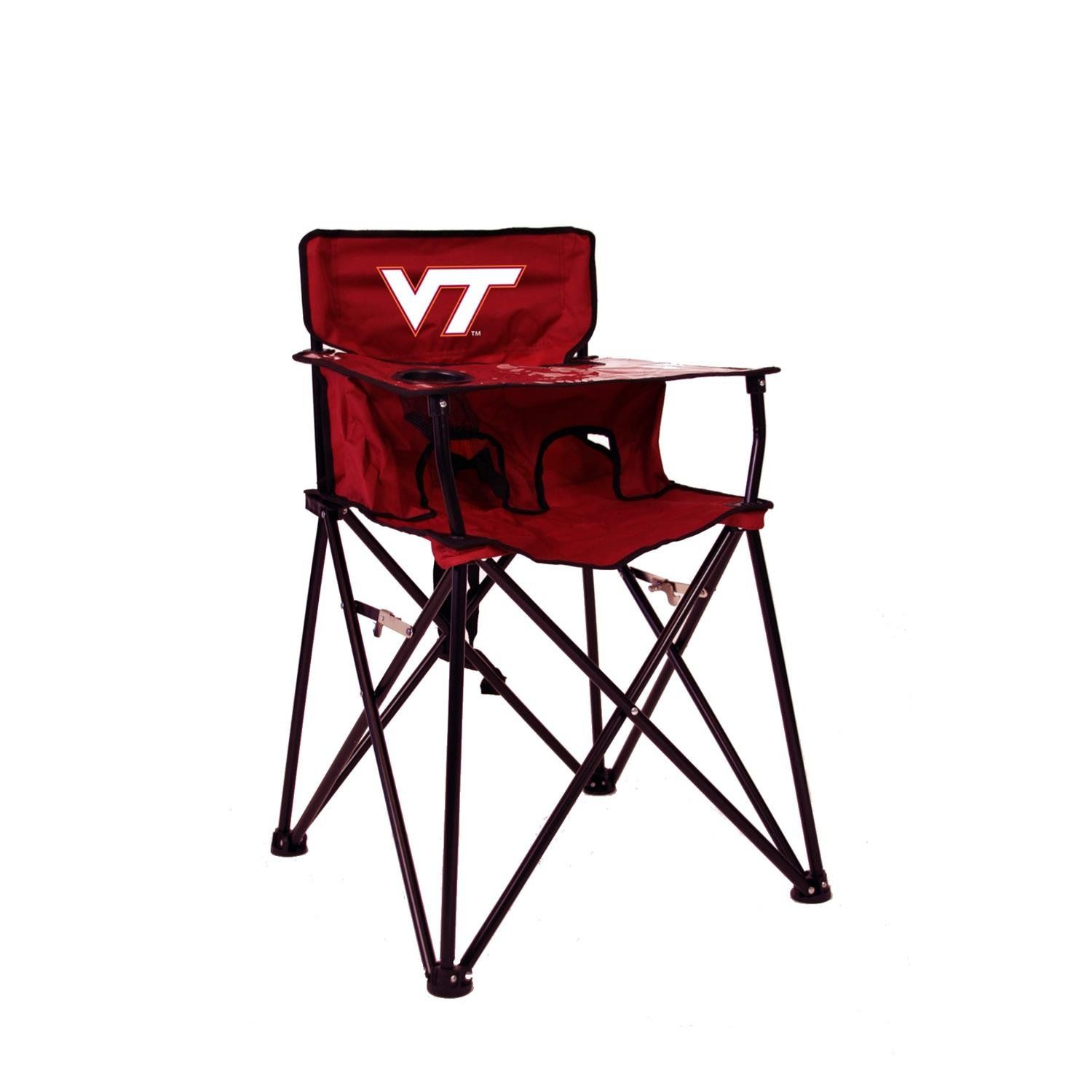 VIRGINIA TECH HOKIES NCAA ULTIMATE TRAVEL CHILD HIGH CHAIR. Your little one gets to show team spirit with this portable & free-standing chair. Requires no assembly--easily unfolds, locks into place, and folds back up in seconds. Durable material with a clear vinyl tray cover that easily wipes clean. Comfortable lap belt securely holds child. This go anywhere highchair for children up to 35 pounds.