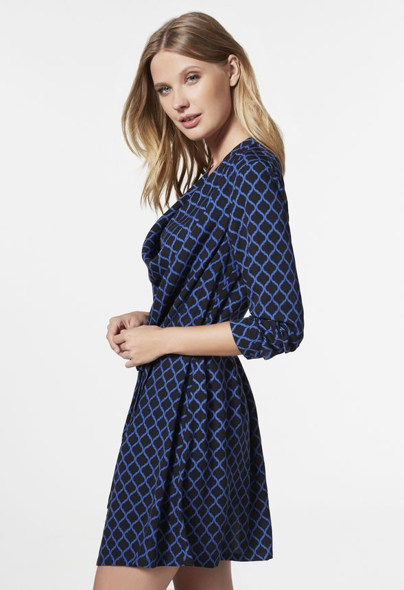 Cowl Neck Woven Dress in Navy/Multi - Get great deals at JustFab