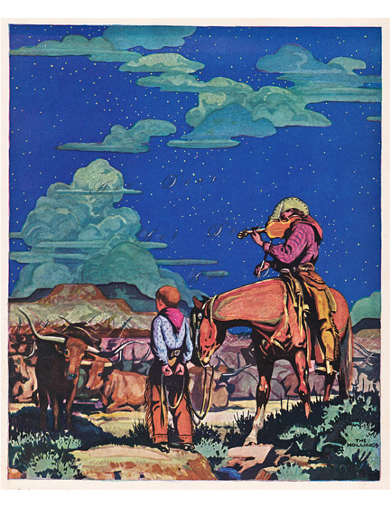 Vintage Western Illustration Cowboys On The Range And A Night Sky Filled With Stars Western Art Vintage Western Art