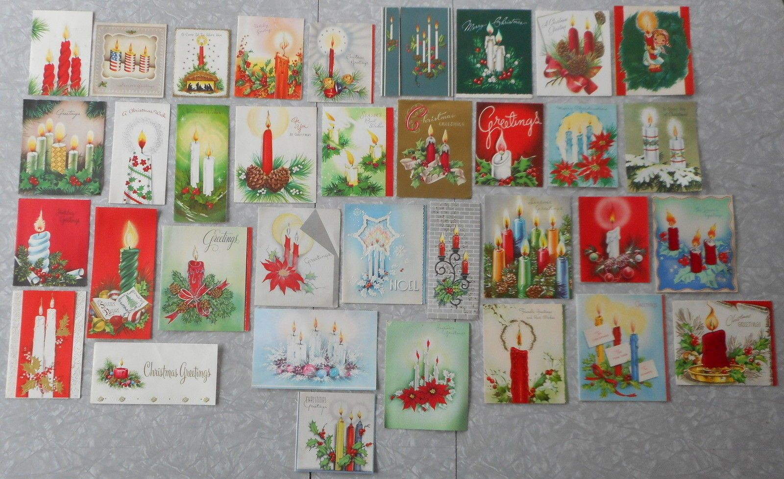 35 Vintage Used Christmas Cards With Candles Hallmark Patriotic Wwii