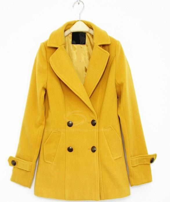 45f2459278cf Elegant Retro Style Lapel Collar Double-Breasted Yellow Coat For Women  (GINGER,S) China Wholesale - Sammydress.com