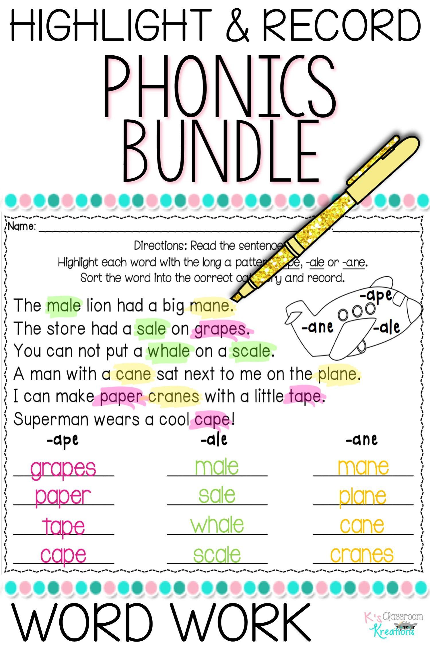 Word Work And Phonics Worksheet Bundle For Beginning