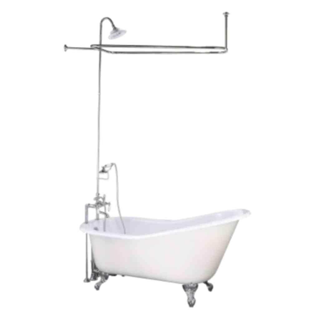 Elizabethan classics shower faucet with slipper tub in chrome white